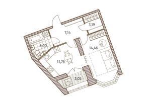 ЖК «Новое Купчино», планировка 1-комнатной квартиры, 43.08 м²