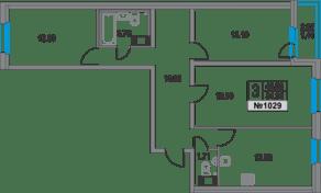 ЖК «Приморский квартал», планировка 3-комнатной квартиры, 81.36 м²
