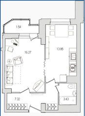 ЖК «Лондон Парк», планировка 1-комнатной квартиры, 42.41 м²