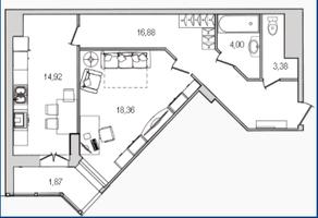 ЖК «Лондон Парк», планировка 1-комнатной квартиры, 59.41 м²