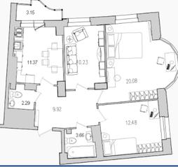 ЖК «Лондон Парк», планировка 3-комнатной квартиры, 71.61 м²