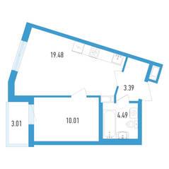 ЖК «Аэросити», планировка 1-комнатной квартиры, 38.88 м²
