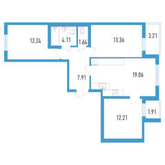 ЖК «Аэросити», планировка 3-комнатной квартиры, 73.09 м²