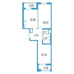 ЖК «Дефанс», планировка 2-комнатной квартиры, 67.84 м²