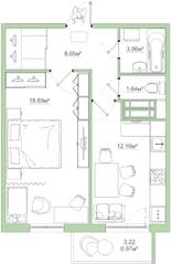ЖК «Белый сад», планировка 1-комнатной квартиры, 44.51 м²