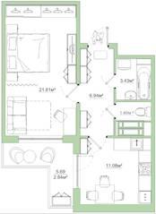 ЖК «Белый сад», планировка 1-комнатной квартиры, 47.70 м²