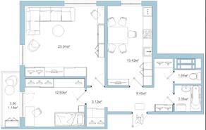 ЖК «Белый сад», планировка 2-комнатной квартиры, 71.47 м²