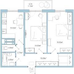 ЖК «Белый сад», планировка 2-комнатной квартиры, 60.72 м²