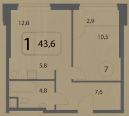 МФК «Волга», планировка 1-комнатной квартиры, 43.60 м²