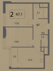 МФК «Волга», планировка 2-комнатной квартиры, 67.10 м²