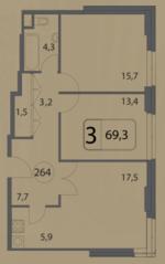 МФК «Волга», планировка 3-комнатной квартиры, 69.30 м²