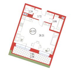 ЖК «Ariosto!», планировка студии, 42.53 м²