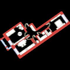 ЖК «Ariosto!», планировка 2-комнатной квартиры, 57.67 м²