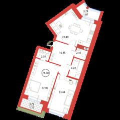 ЖК «Ariosto!», планировка 2-комнатной квартиры, 74.70 м²