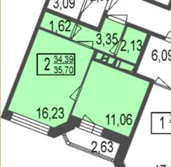 ЖК «Мытищи lite», планировка 2-комнатной квартиры, 33.70 м²