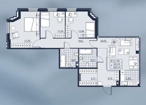 ЖК «Alter», планировка 3-комнатной квартиры, 105.76 м²