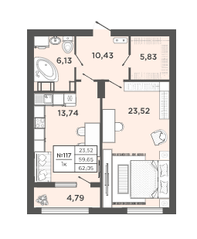 ЖК «Новый Невский», планировка 1-комнатной квартиры, 62.05 м²