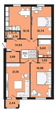 ЖК «Новый Невский», планировка 3-комнатной квартиры, 103.93 м²
