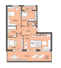 ЖК «Новый Невский», планировка 3-комнатной квартиры, 106.58 м²