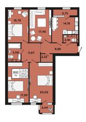 ЖК «Новый Невский», планировка 4-комнатной квартиры, 120.88 м²