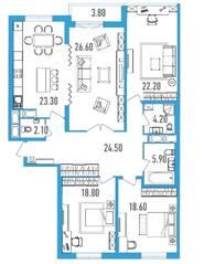 ЖК «Leningrad», планировка 4-комнатной квартиры, 148.10 м²