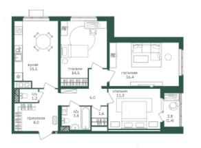 ЖК «Зеленая вертикаль», планировка 3-комнатной квартиры, 78.90 м²