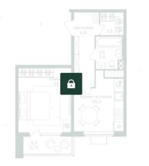 ЖК «Зеленая вертикаль», планировка 1-комнатной квартиры, 38.50 м²