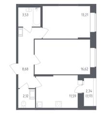 ЖК «Сандэй», планировка 2-комнатной квартиры, 56.92 м²