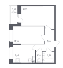 ЖК «Сандэй», планировка 2-комнатной квартиры, 65.59 м²