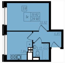 МЖК «Бристоль Москва», планировка 1-комнатной квартиры, 29.80 м²