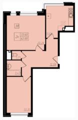 МЖК «Бристоль Москва», планировка 2-комнатной квартиры, 61.90 м²