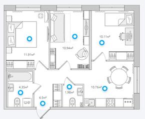 ЖК «Parkolovo», планировка 3-комнатной квартиры, 56.55 м²