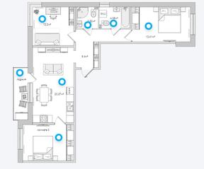 ЖК «Parkolovo», планировка 3-комнатной квартиры, 76.96 м²