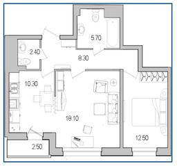 ЖК «Поэт», планировка 2-комнатной квартиры, 58.60 м²