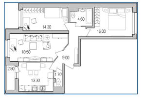 ЖК «Поэт», планировка 3-комнатной квартиры, 78.80 м²