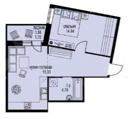 ЖК «ID Мурино», планировка 1-комнатной квартиры, 46.16 м²
