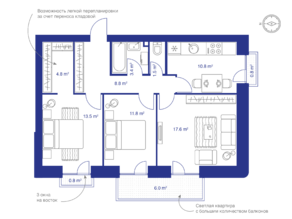 МЖК «Veda Village», планировка 3-комнатной квартиры, 72.20 м²