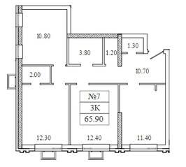 ЖК «Видный берег 2», планировка квартиры со свободной планировкой, 65.90 м²