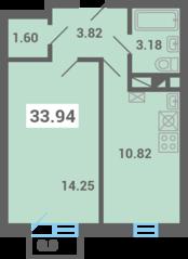 МЖК «Южная Долина», планировка 1-комнатной квартиры, 33.94 м²