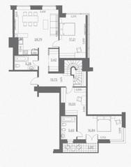 МФК «Данилов дом», планировка 3-комнатной квартиры, 182.96 м²