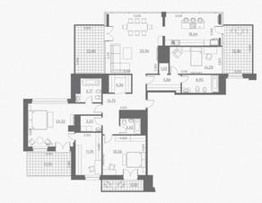МФК «Данилов дом», планировка 3-комнатной квартиры, 212.44 м²