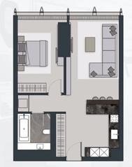 МФК «Neva Towers», планировка квартиры со свободной планировкой, 67.60 м²