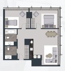 МФК «Neva Towers», планировка квартиры со свободной планировкой, 84.50 м²