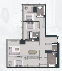 МФК «Neva Towers», планировка квартиры со свободной планировкой, 209.00 м²