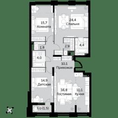 ЖК «Sydney City», планировка 4-комнатной квартиры, 106.70 м²