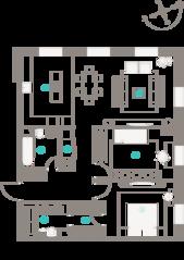 ЖК «Полянка, 44», планировка 3-комнатной квартиры, 97.60 м²