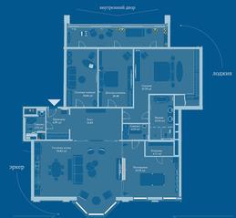 ЖК «Симфония набережных», планировка 5-комнатной квартиры, 212.00 м²