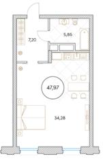 МФК «Софийский», планировка 1-комнатной квартиры, 47.97 м²