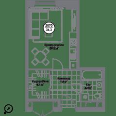 МФК «Match Point», планировка студии, 36.30 м²