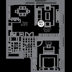 МФК «Match Point», планировка 2-комнатной квартиры, 74.40 м²